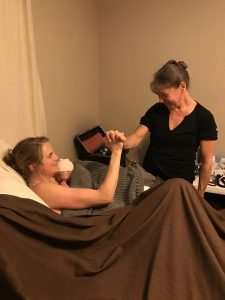 A touching moment with Angie after a successful home birth